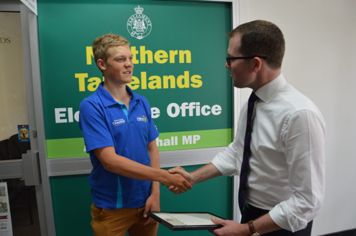 ARMIDALE CYCLIST SAM JENNER RECEIVES STATE RECOGNITION