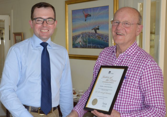 ARMIDALE'S MAX BROWNING RECEIVES JUSTICE GONG FOR IMPRESSIVE RECORD