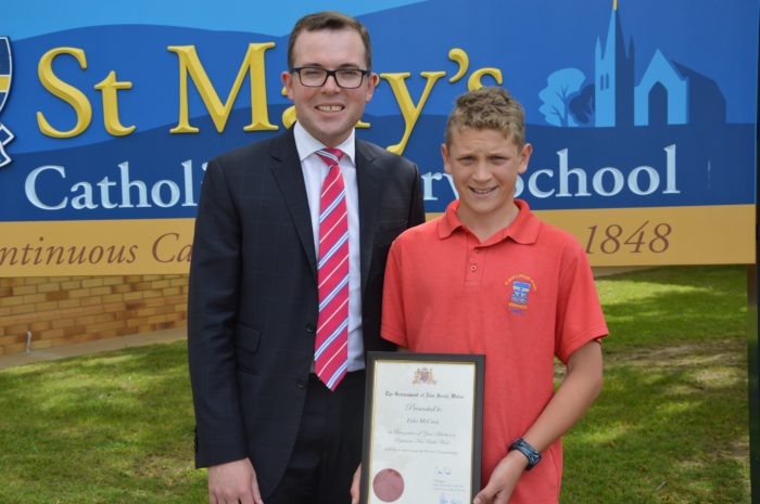 STATE RECOGNITION FOR ST MARY'S PRIMARY STUDENT TYLER McCANN