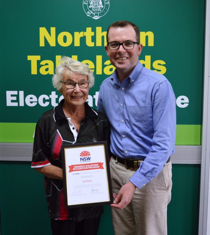 RUTH RECOGNISED FOR A QUARTER CENTURY OF COMMUNITY SERVICE