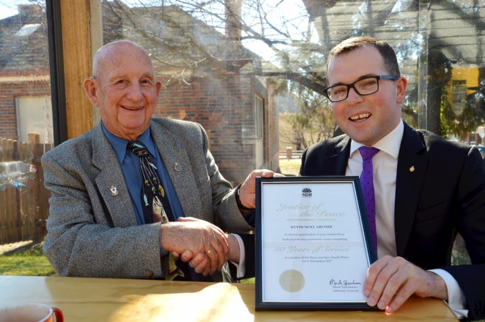 50 YEARS OF SERVING JUSTICE: ARMIDALE'S KEVIN ARCHER RECOGNISED